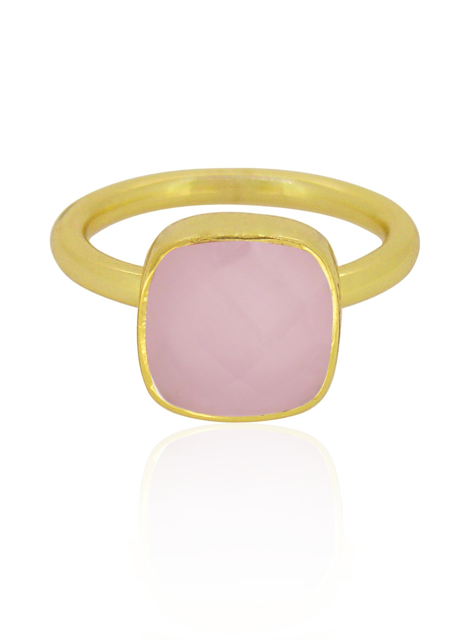 Indie Rose Quartz Gemstone Ring in Gold