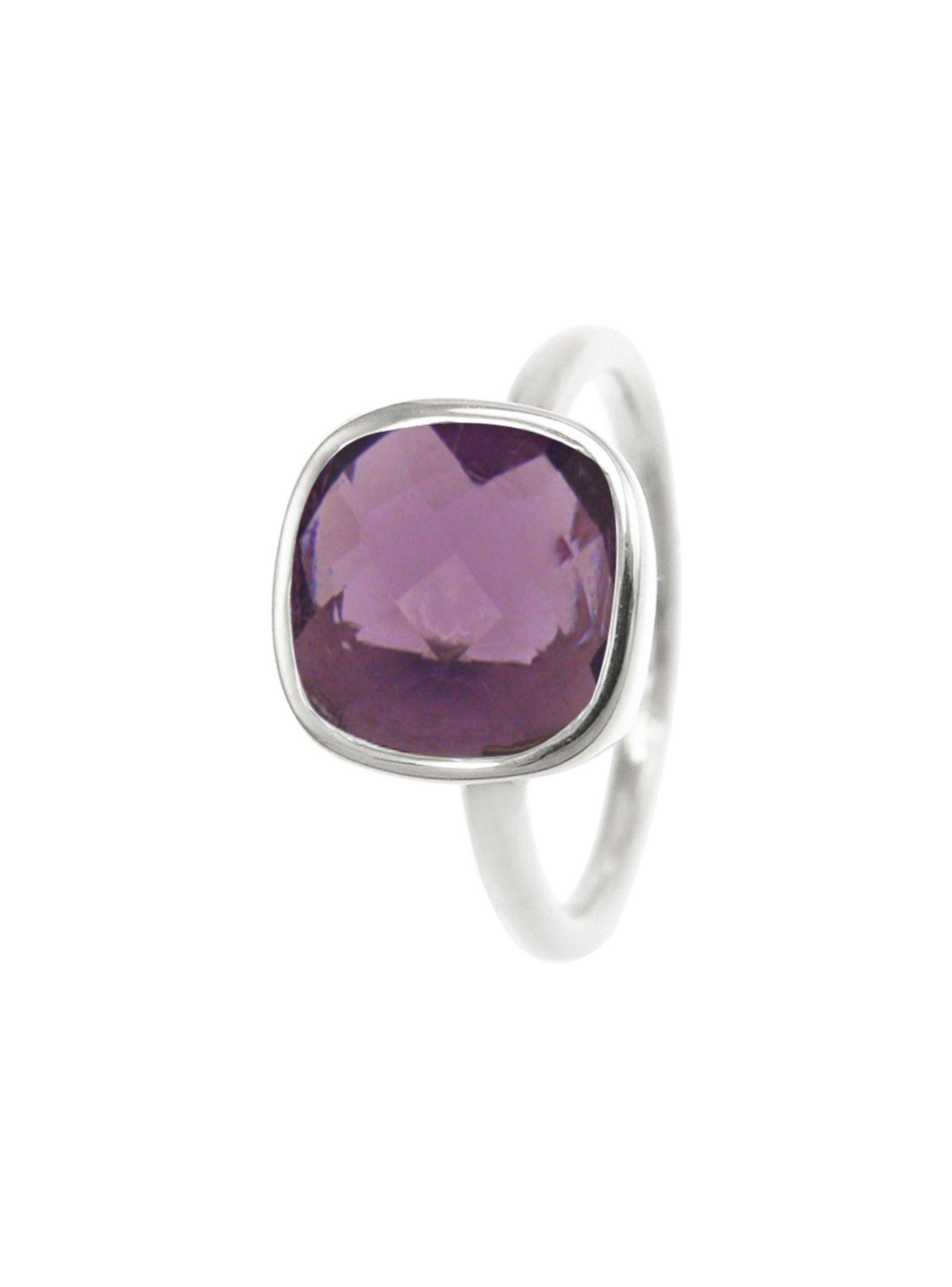 Indie Amethyst Gemstone Ring in Silver