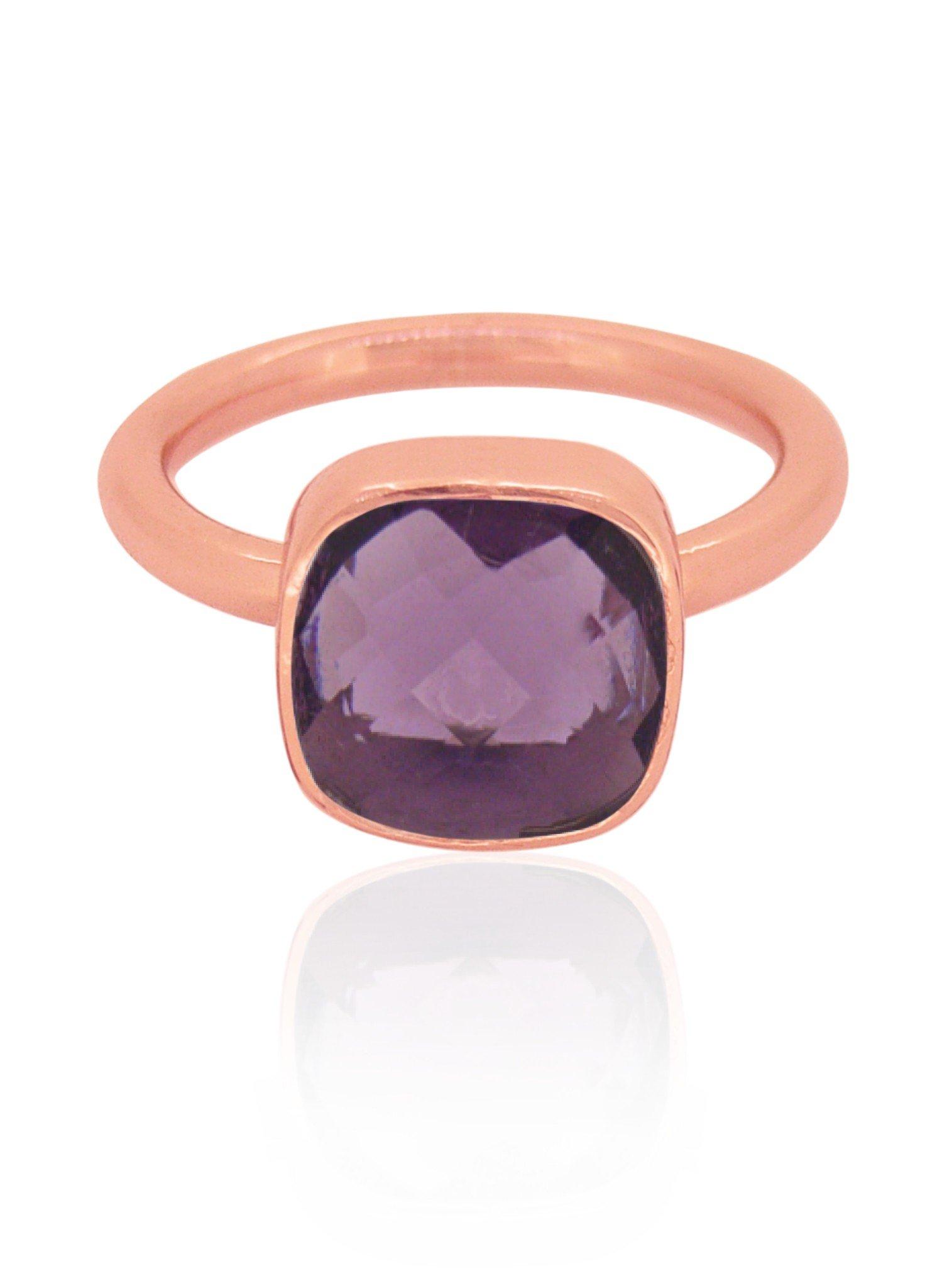 Indie Amethyst Gemstone Ring in Rose Gold