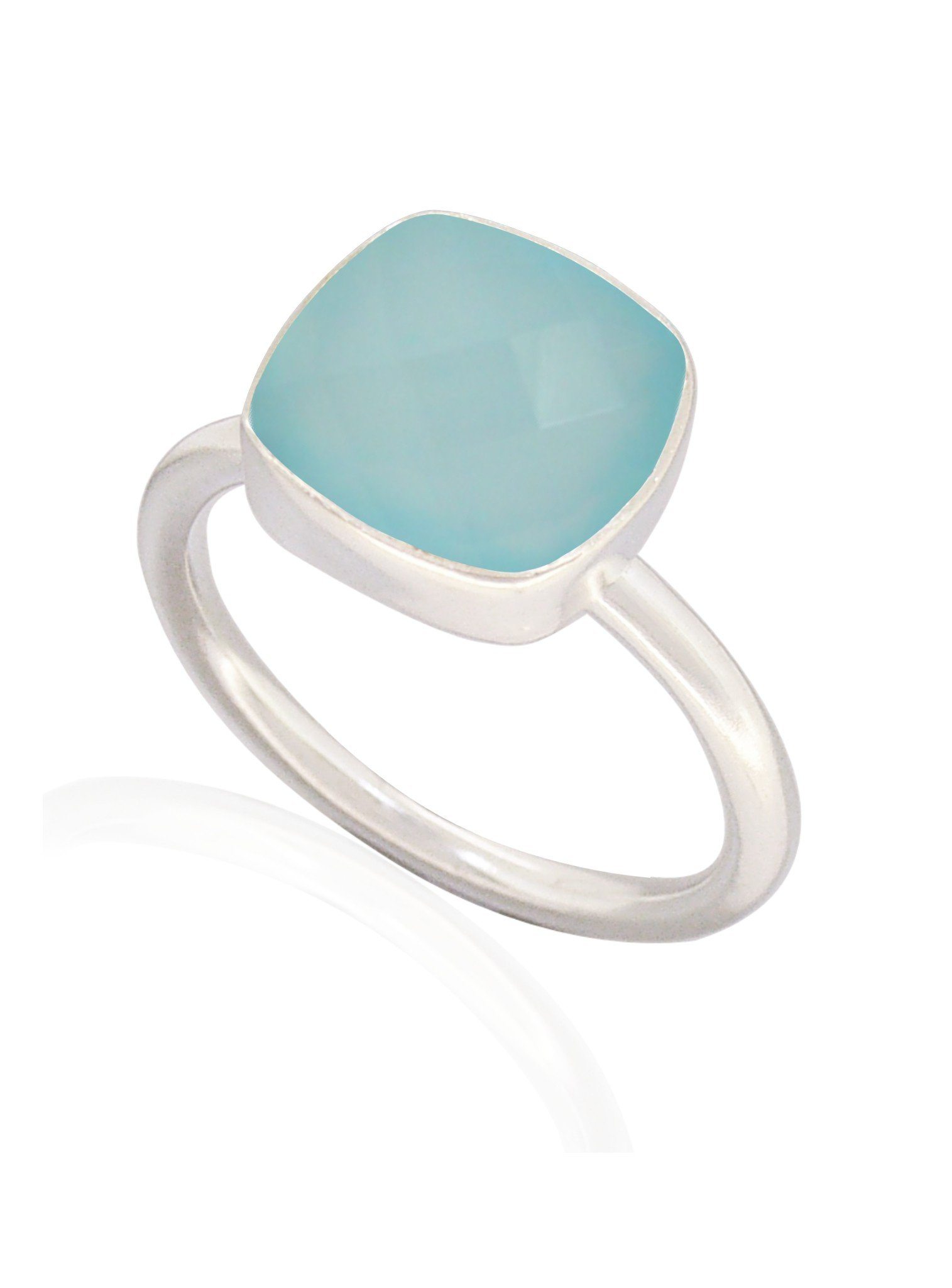Indie Aqua Chalcedony Gemstone Ring in Silver