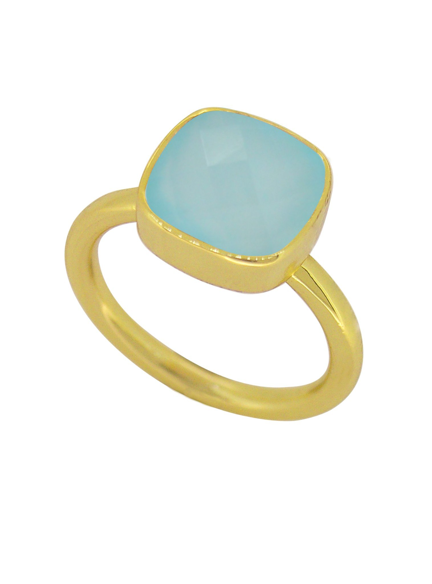 Indie Aqua Chalcedony Gemstone Ring in Gold