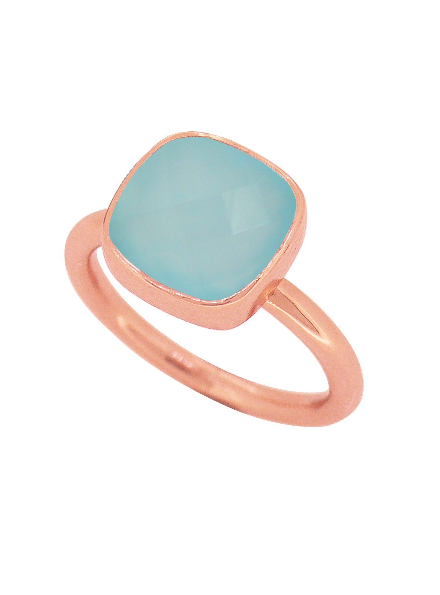 Indie Aqua Chalcedony Gemstone Ring in Rose Gold