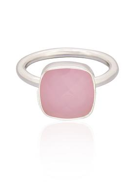 Indie Pink Chalcedony Gemstone Ring in Silver