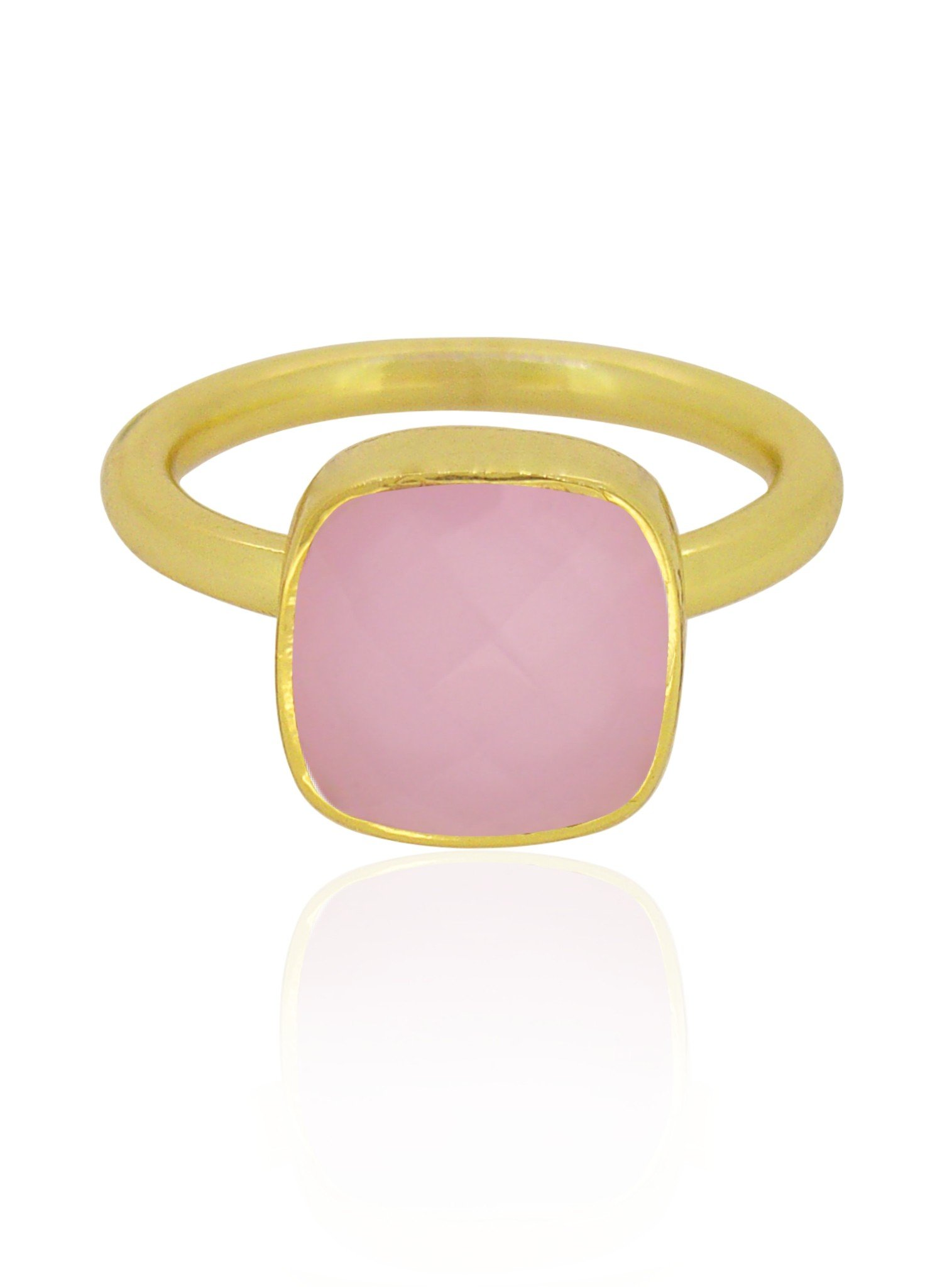 Indie Pink Chalcedony Gemstone Ring in Gold — Jewellery Co. Australia
