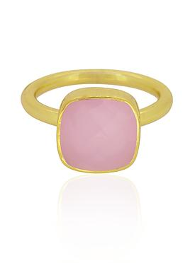 Indie Pink Chalcedony Gemstone Ring in Gold