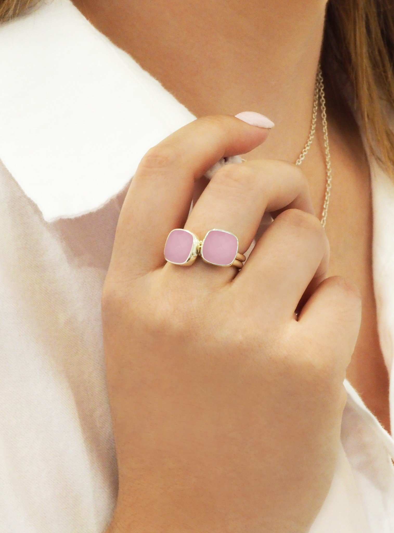 Indie Pink Chalcedony Gemstone Ring in Rose Gold