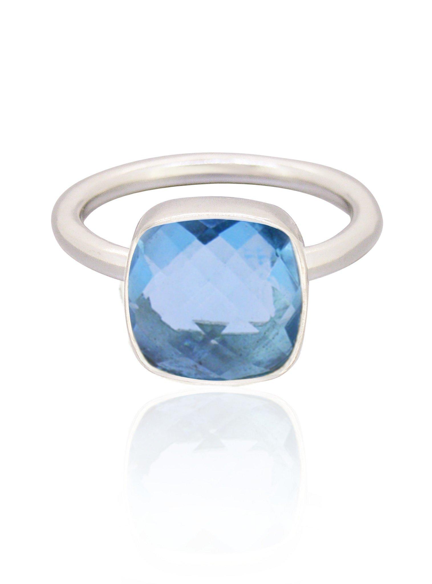 Indie Blue Topaz Gemstone Ring in Silver
