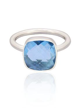 Indie Blue Topaz Gemstone Ring in Silver