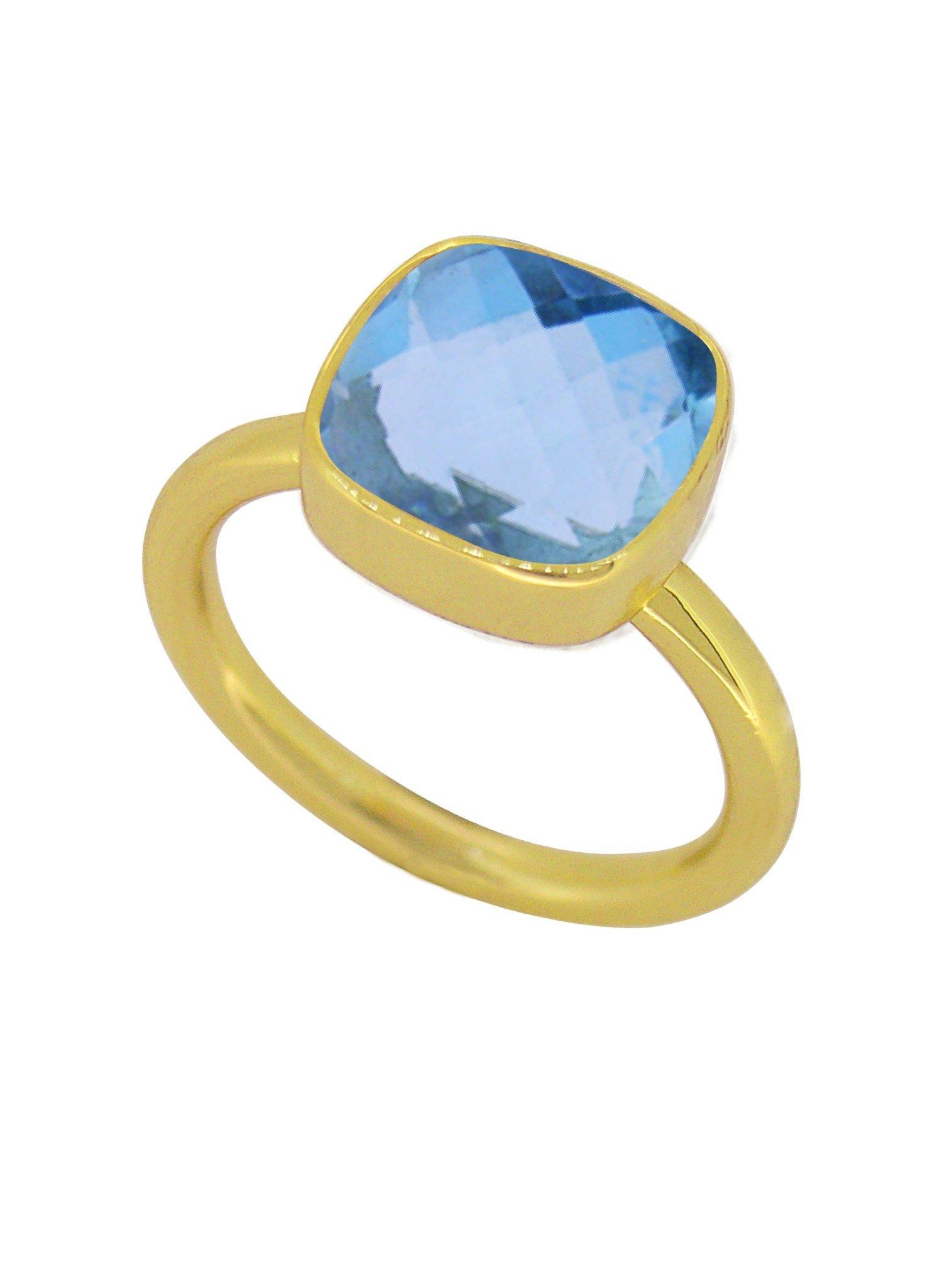 Indie Blue Topaz Gemstone Ring in Gold