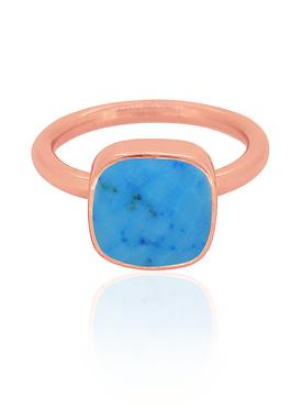 Indie Sleeping Beauty Turquoise Gemstone Ring in Rose Gold