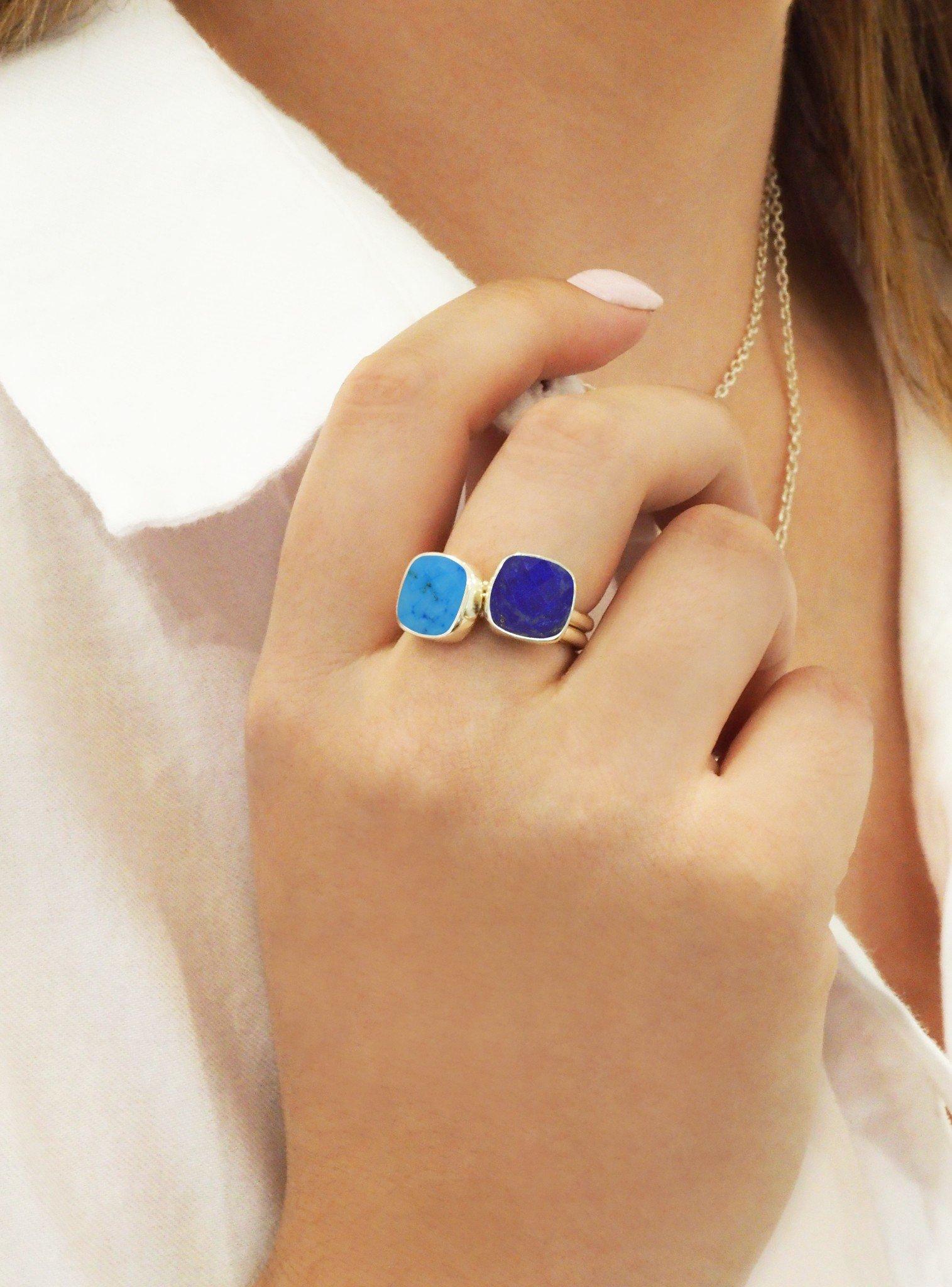 Indie Lapis Lazuli Gemstone Ring in Rose Gold
