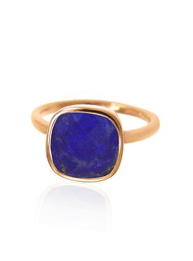 Indie Lapis Lazuli Gemstone Ring in Rose Gold