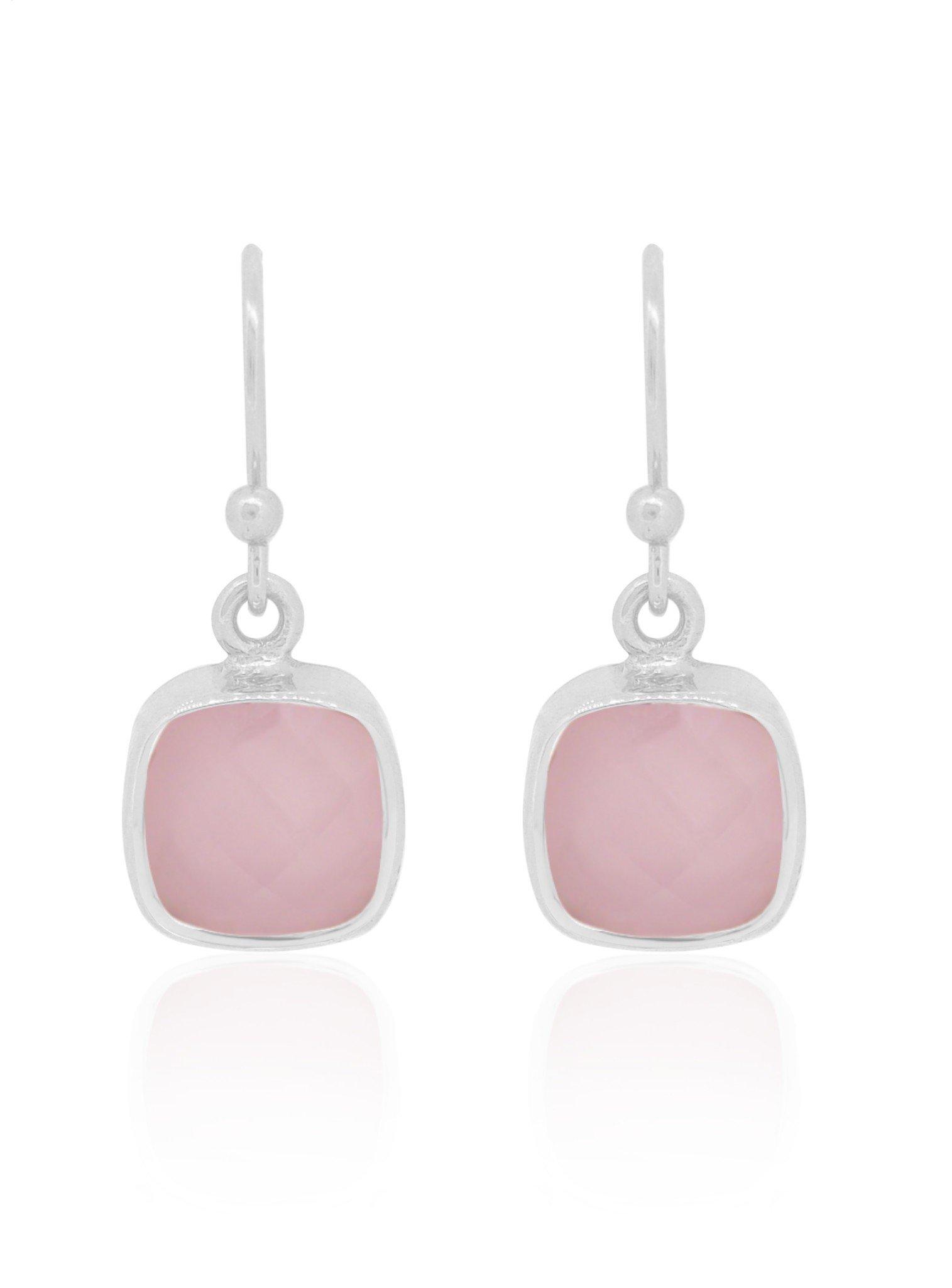 Indie Rose Quartz Gemstone Earrings in Silver