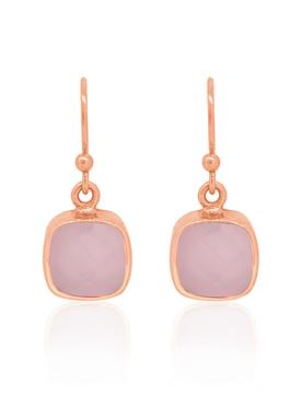 Indie Rose Quartz Gemstone Earrings in Rose Gold
