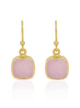 Indie Rose Quartz Gemstone Earrings in Gold