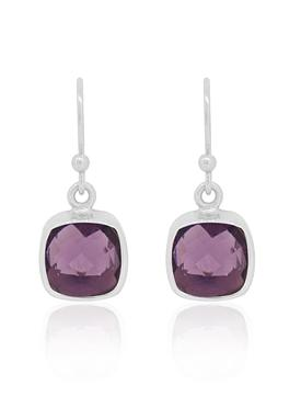 Indie Amethyst Gemstone Earrings in Silver
