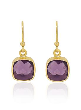 Indie Amethyst Gemstone Earrings in Gold