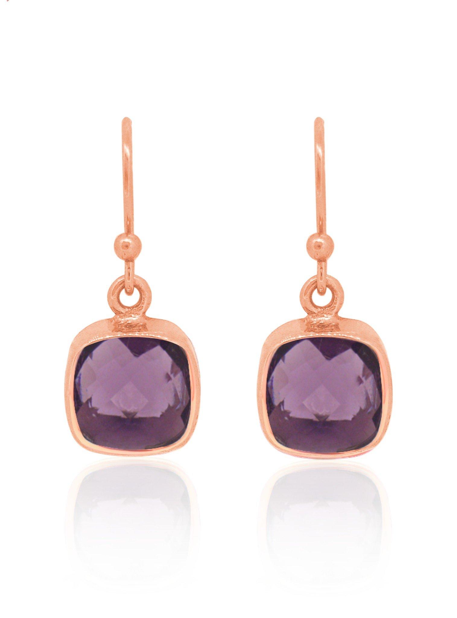 Indie Amethyst Gemstone Earrings in Rose Gold