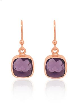 Indie Amethyst Gemstone Earrings in Rose Gold