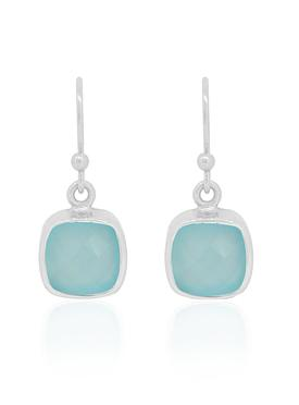 Indie Aqua Chalcedony Gemstone Earrings in Silver
