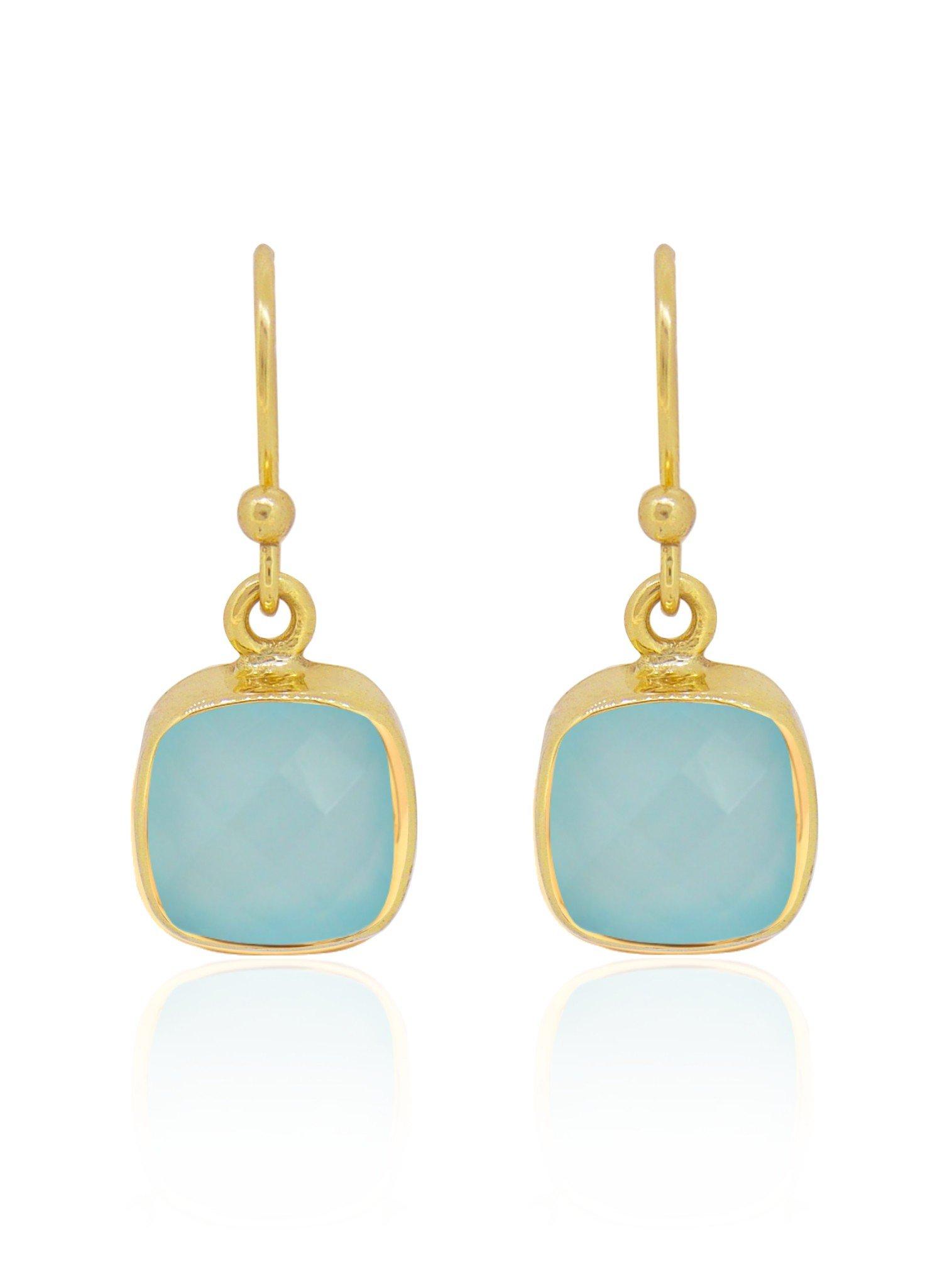 Indie Aqua Chalcedony Gemstone Earrings in Gold