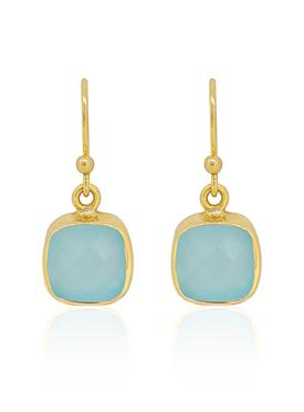 Indie Aqua Chalcedony Gemstone Earrings in Gold