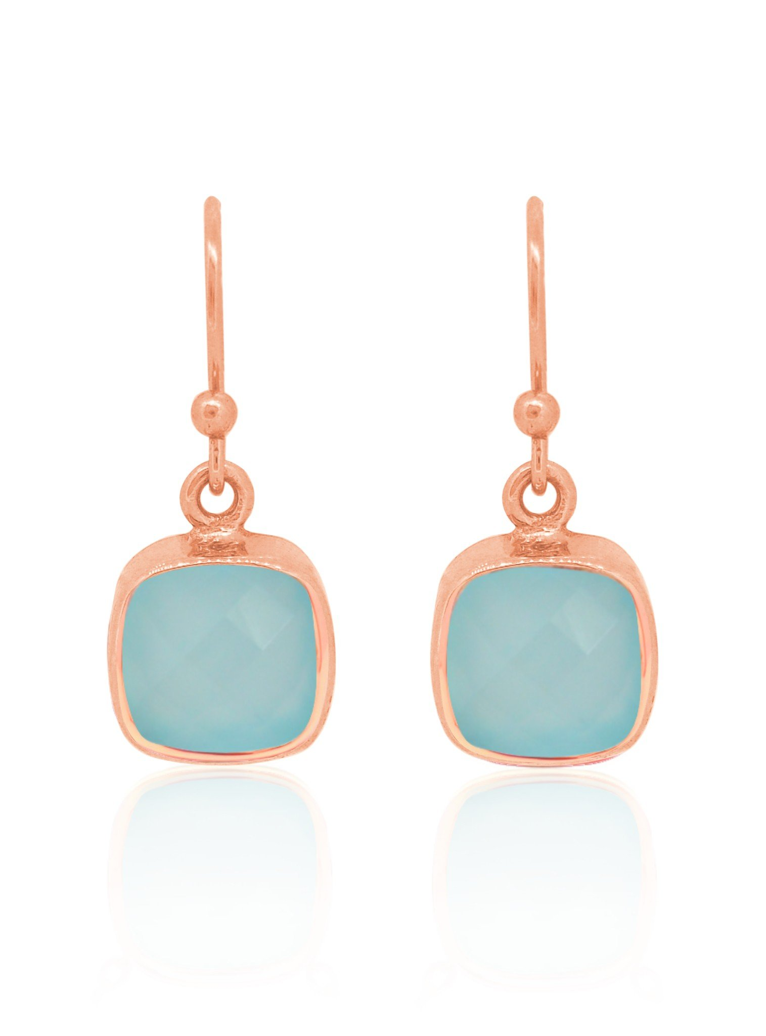Indie Aqua Chalcedony Gemstone Earrings in Rose Gold