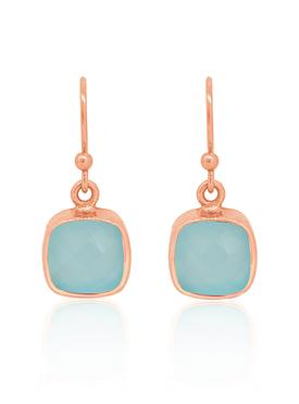 Indie Aqua Chalcedony Gemstone Earrings in Rose Gold