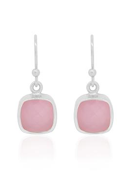 Indie Pink Chalcedony Gemstone Earrings in Silver