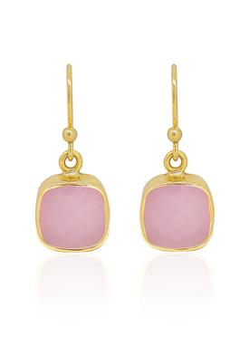 Indie Pink Chalcedony Gemstone Earrings in Gold