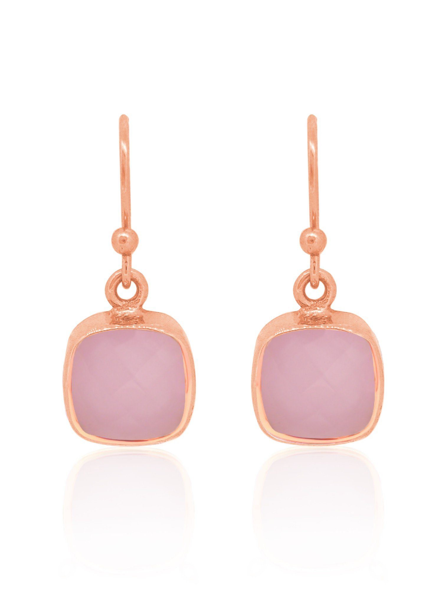 Indie Pink Chalcedony Gemstone Earrings in Rose Gold