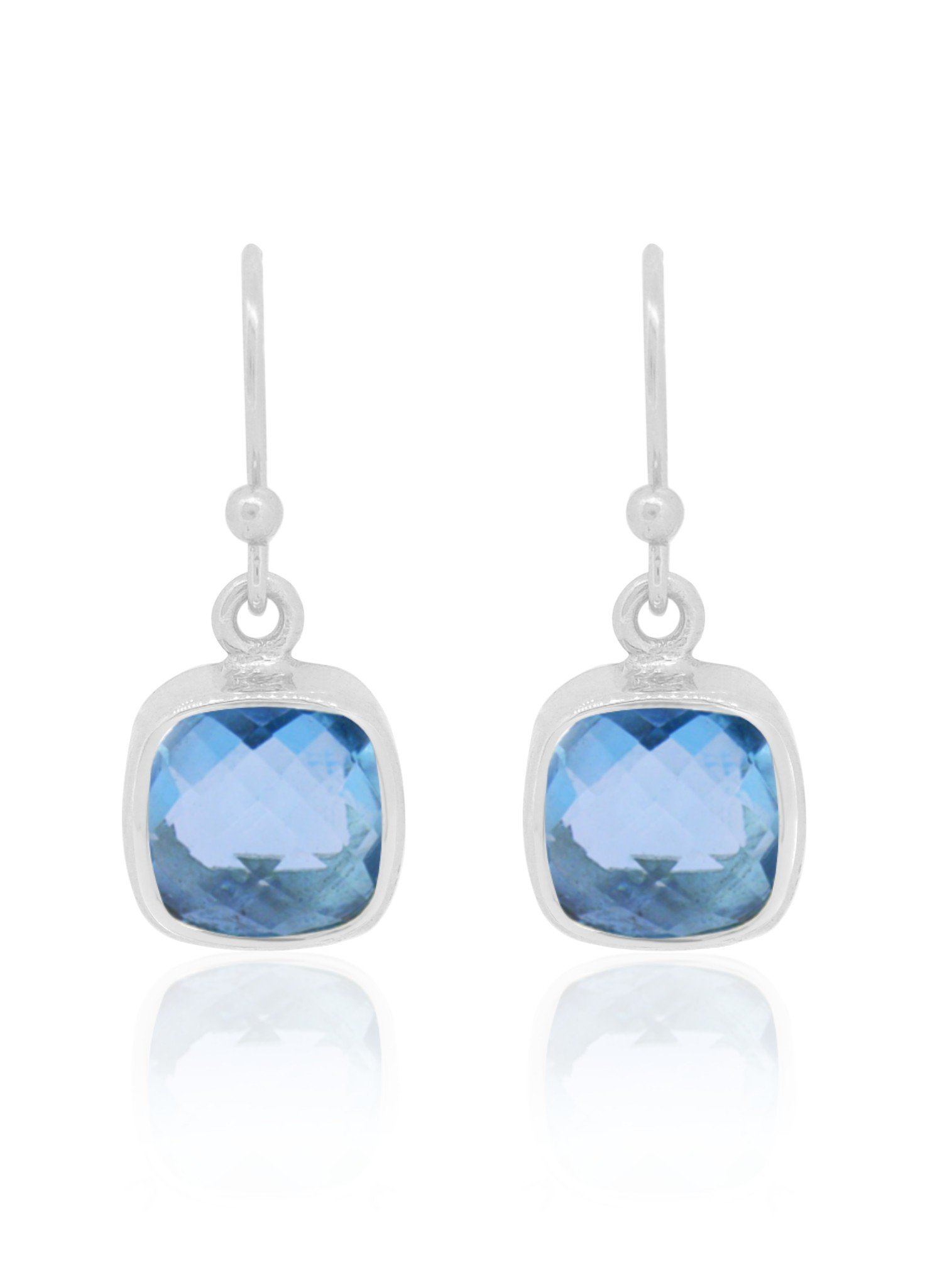 Indie Blue Topaz Gemstone Earrings in Silver