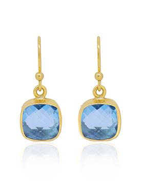 Indie Blue Topaz Gemstone Earrings in Gold