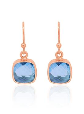 Indie Blue Topaz Gemstone Earrings in Rose Gold