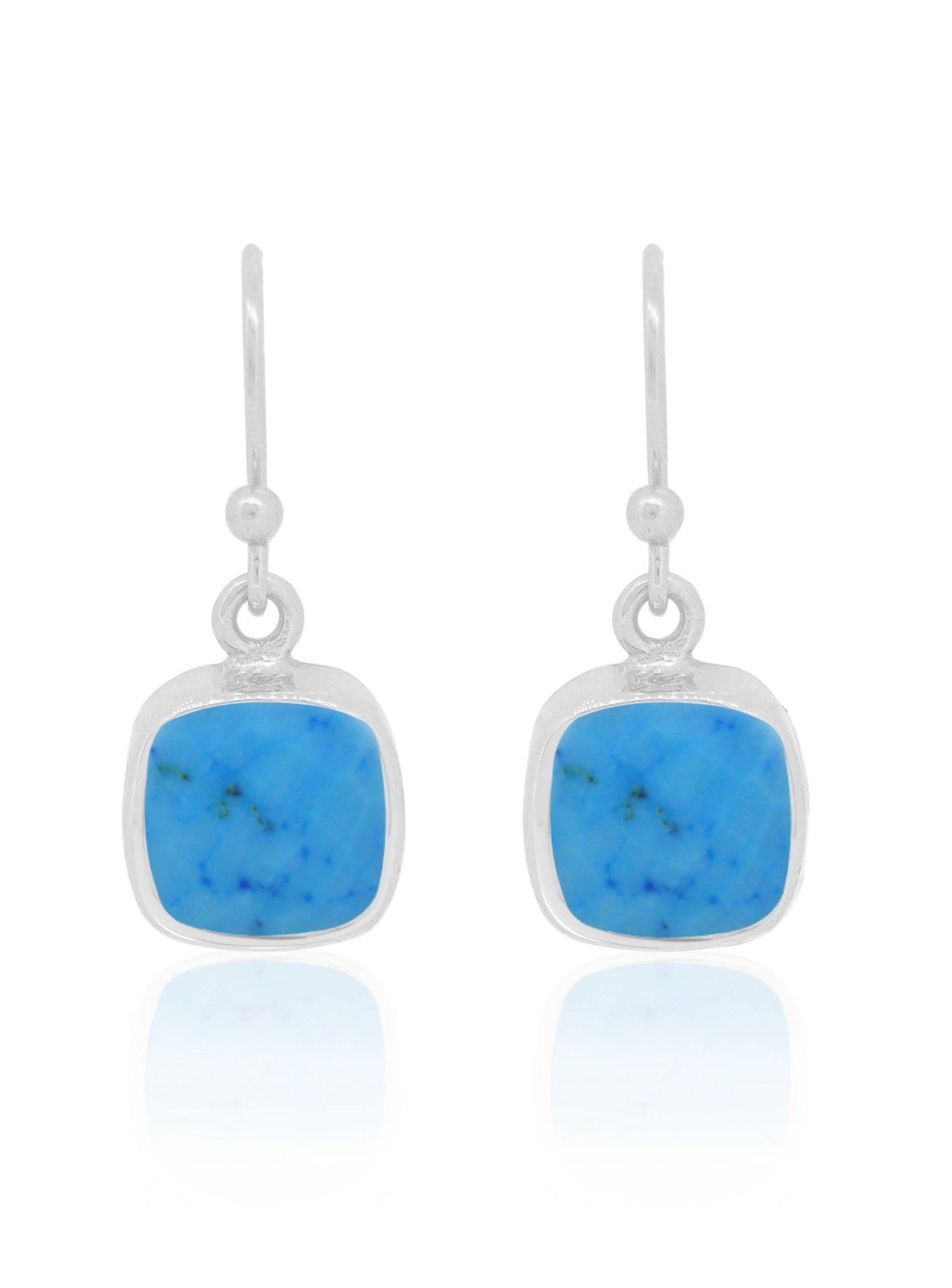 Indie Sleeping Beauty Turquoise Gemstone Earrings Silver