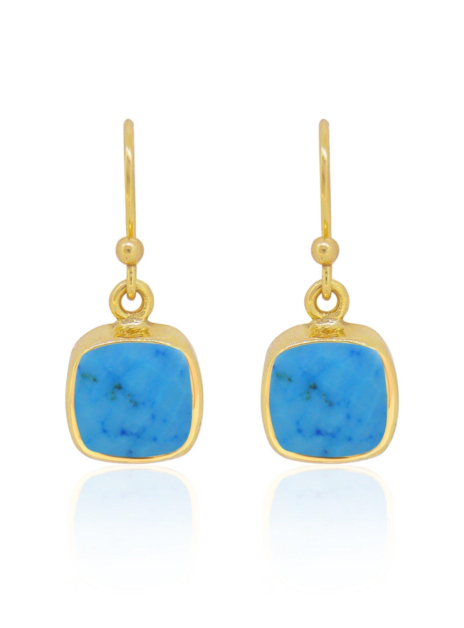 Indie Sleeping Beauty Turquoise Gemstone Earrings Gold