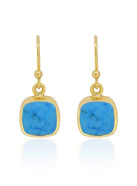 Indie Sleeping Beauty Turquoise Gemstone Earrings Gold