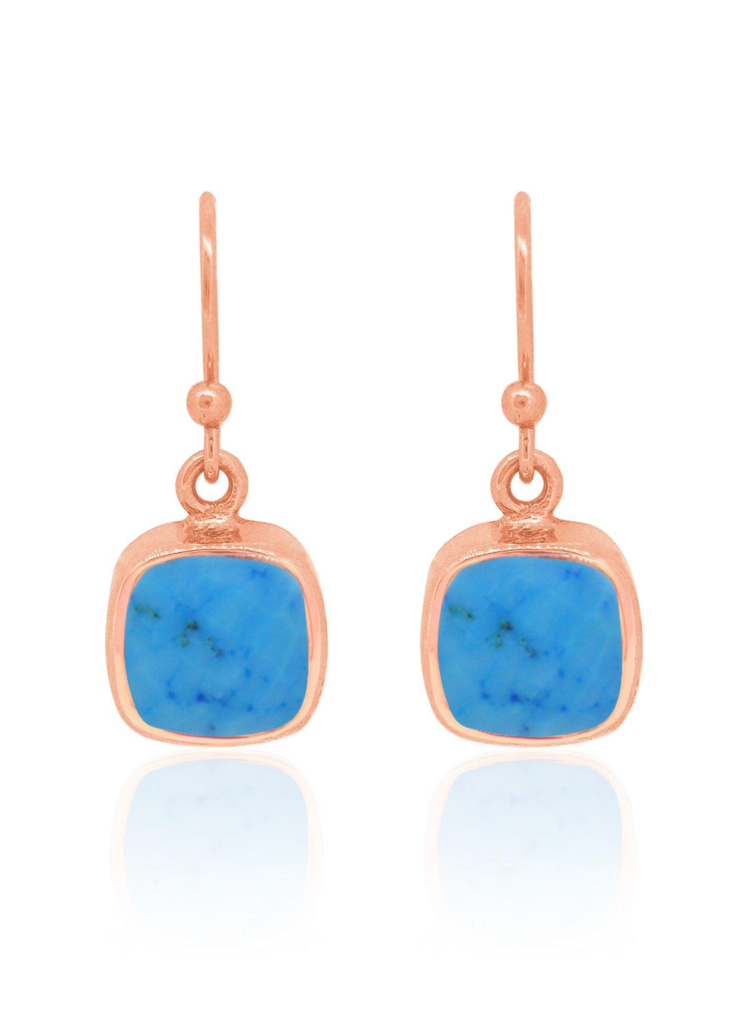 Indie Sleeping Beauty Turquoise Gemstone Earrings Rose Gold