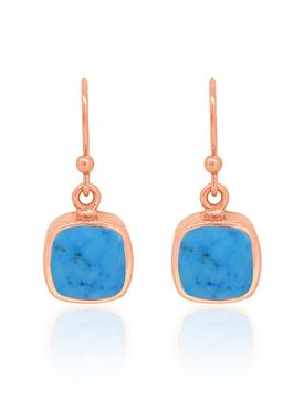 Indie Sleeping Beauty Turquoise Gemstone Earrings Rose Gold