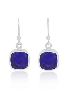 Indie Lapis Lazuli Gemstone Earrings in Silver