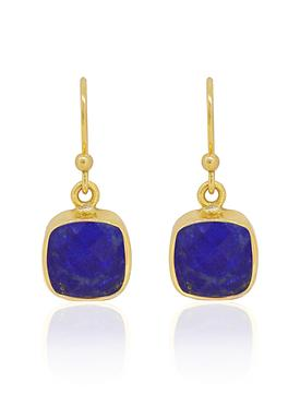 Indie Lapis Lazuli Gemstone Earrings in Gold