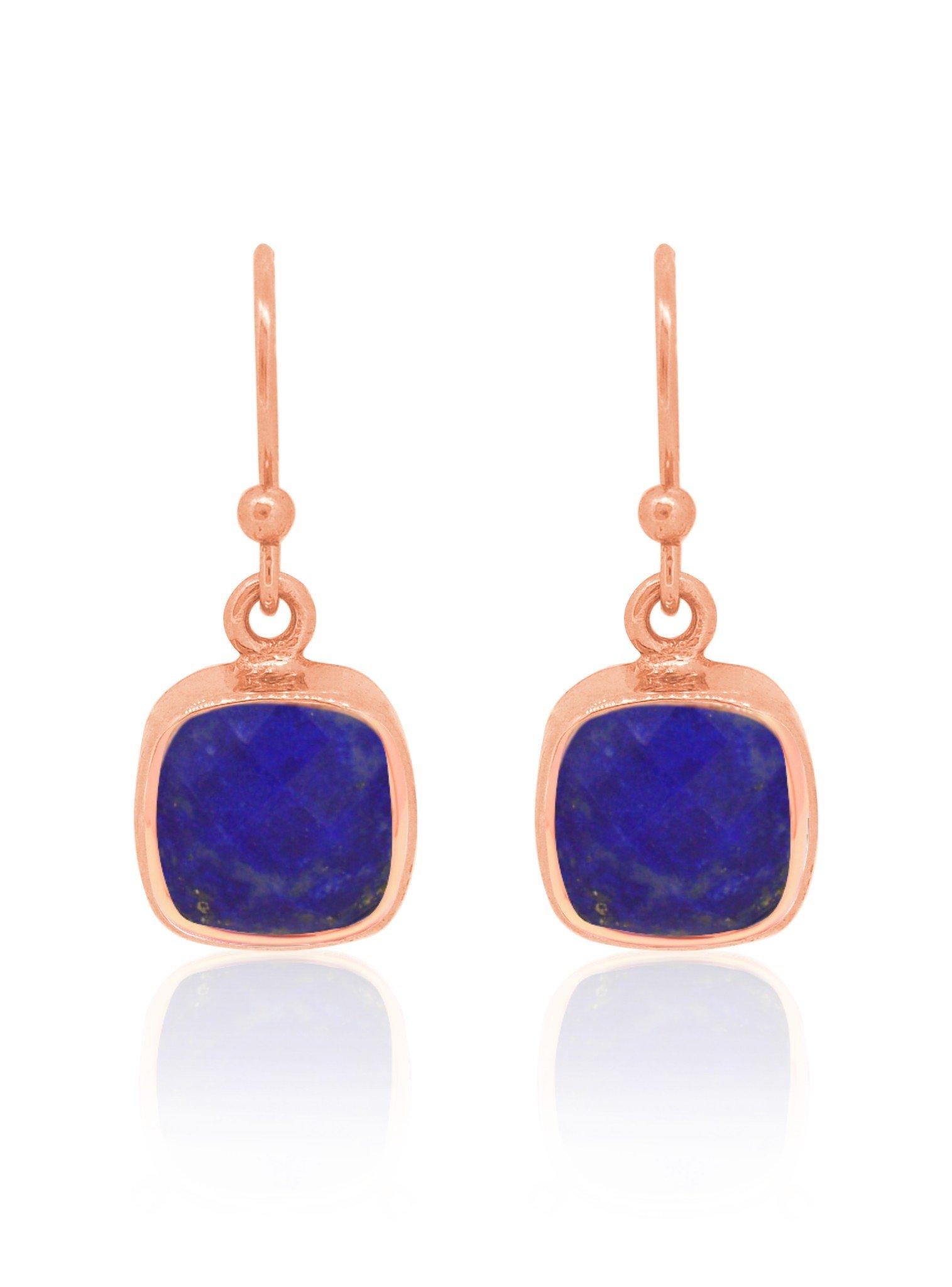 Indie Lapis Lazuli Gemstone Earrings in Rose Gold
