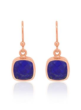 Indie Lapis Lazuli Gemstone Earrings in Rose Gold