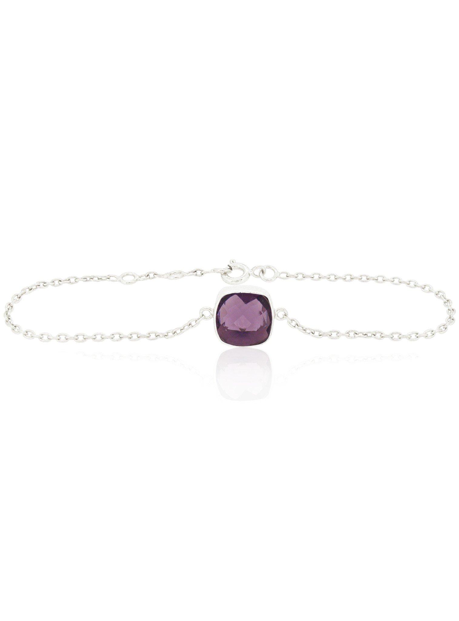 Indie Amethyst Gemstone Bracelet in Silver