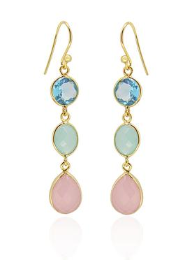 Clarke Gemstone Earrings in Gold