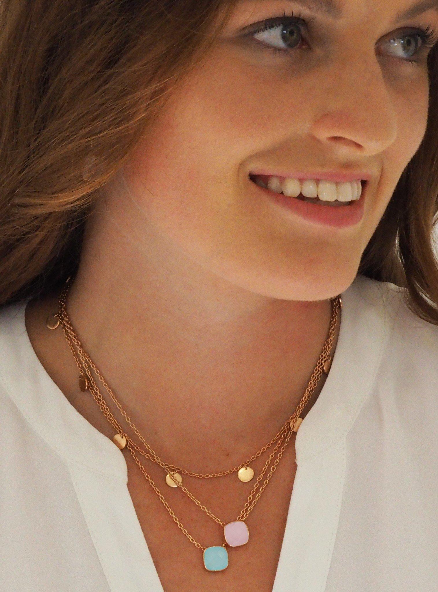 Harper Mini Coin Tag Necklace in Rose Gold