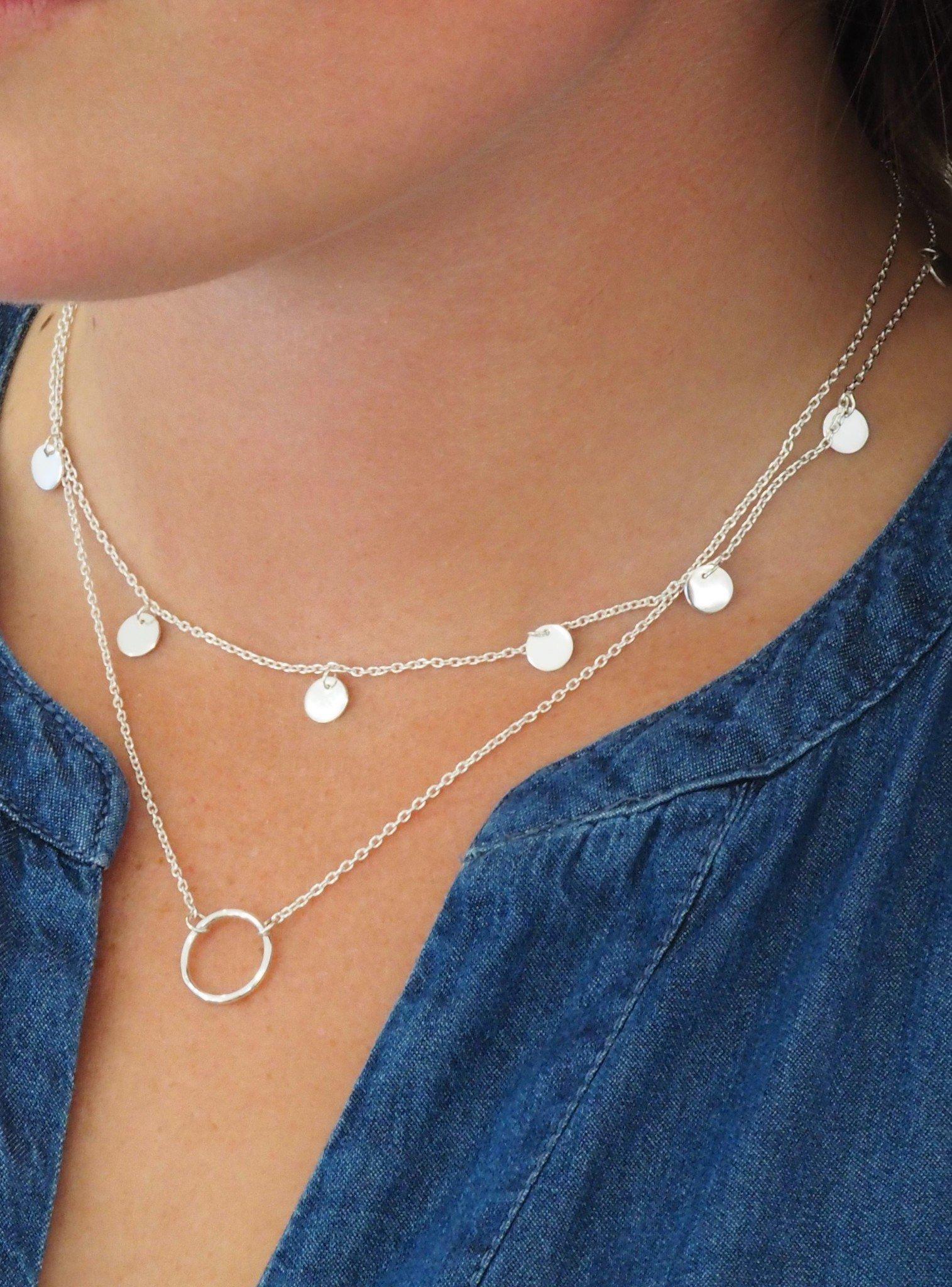 Harper Mini Coin Tag Necklace in Silver