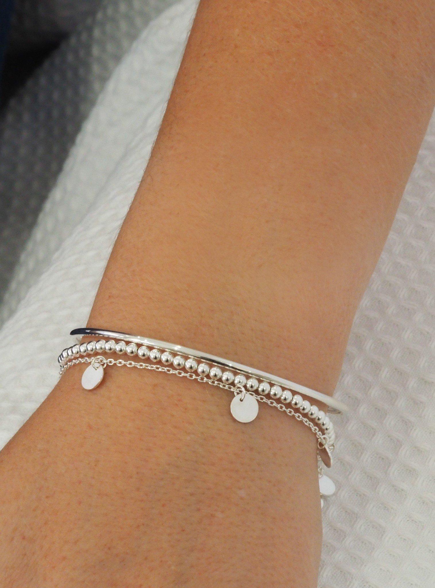 Harper Mini Coin Tag Bracelet in Silver