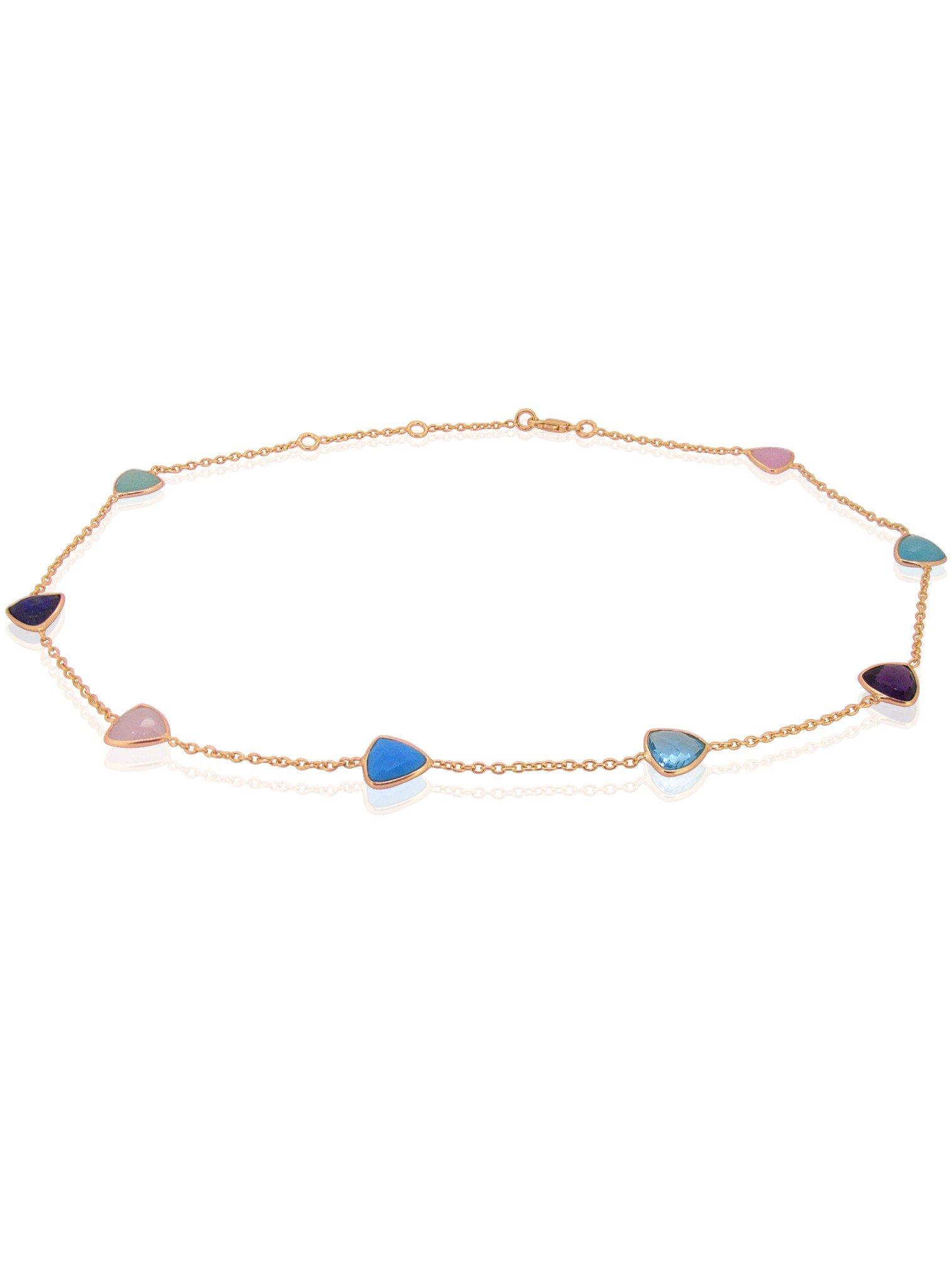 Harper Trilliant Gemstones Necklace in Rose Gold
