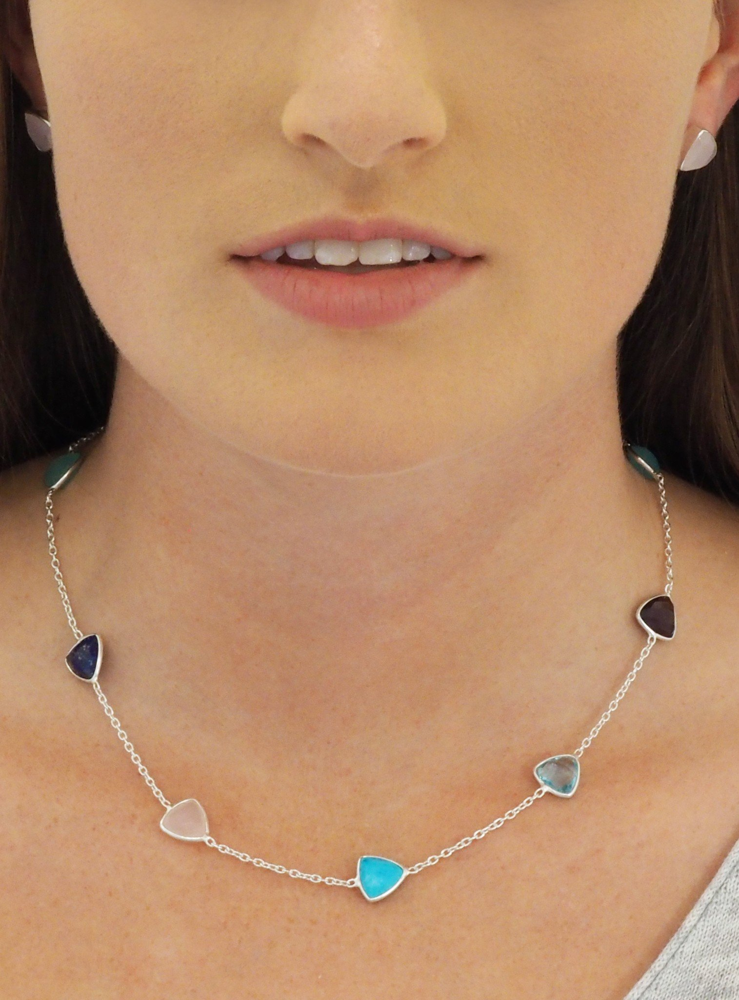 Harper Trilliant Gemstones Necklace in Silver